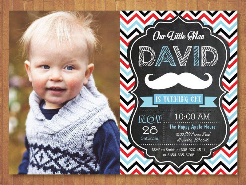 Mustache Birthday Invitation with Photo. Little Man Mustache ...