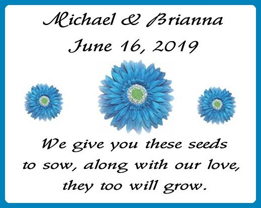 Personalized Wedding Favor Wildflower Seed Packets Blue Daisy Design ...