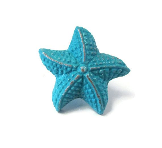 Starfish Knobs / Nautical Decor / Blue Starfish Kitchen Door Handles ...