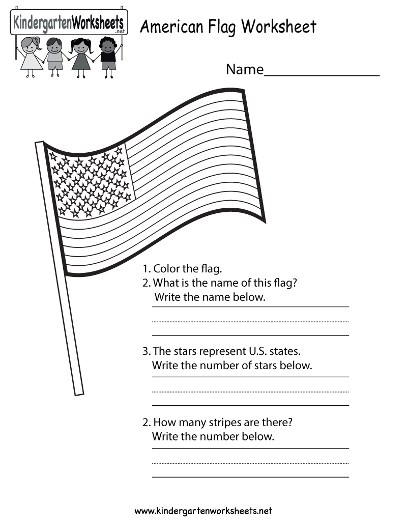 This is an American flag worksheet for kindergarteners. This would be a  great worksheet for Memorial Day!   Worksheets [ 1035 x 800 Pixel ]