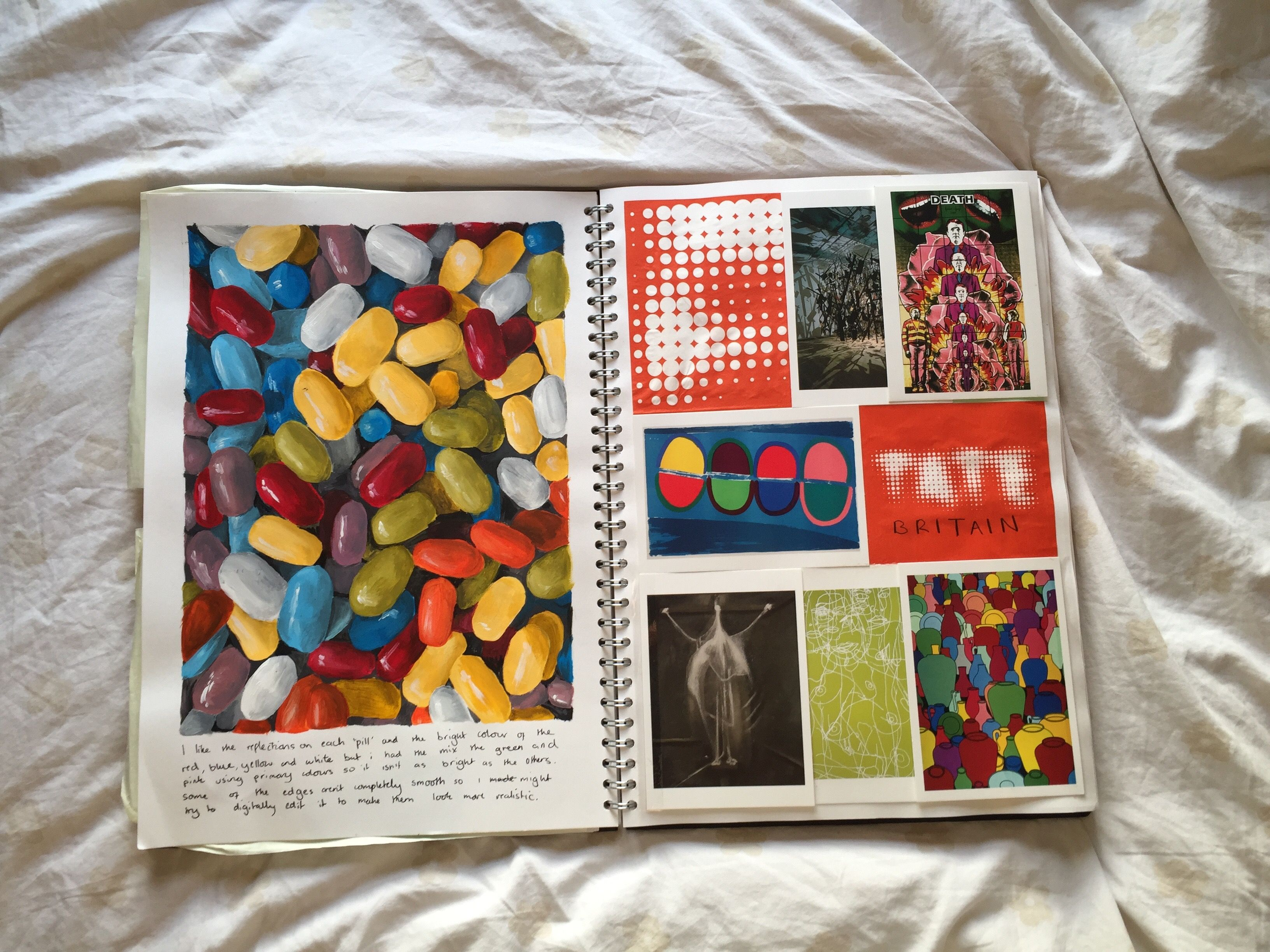 GCSE sketchbook - Painting of pills and write up of visit ...