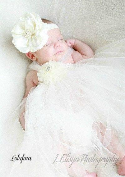 Baby Girl Headband Hairband Blink White Flowers Christening Baptism Photo Prop