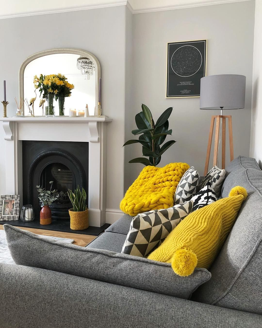 My Grey Yellow And White Living Room With Parquet Floor Grey