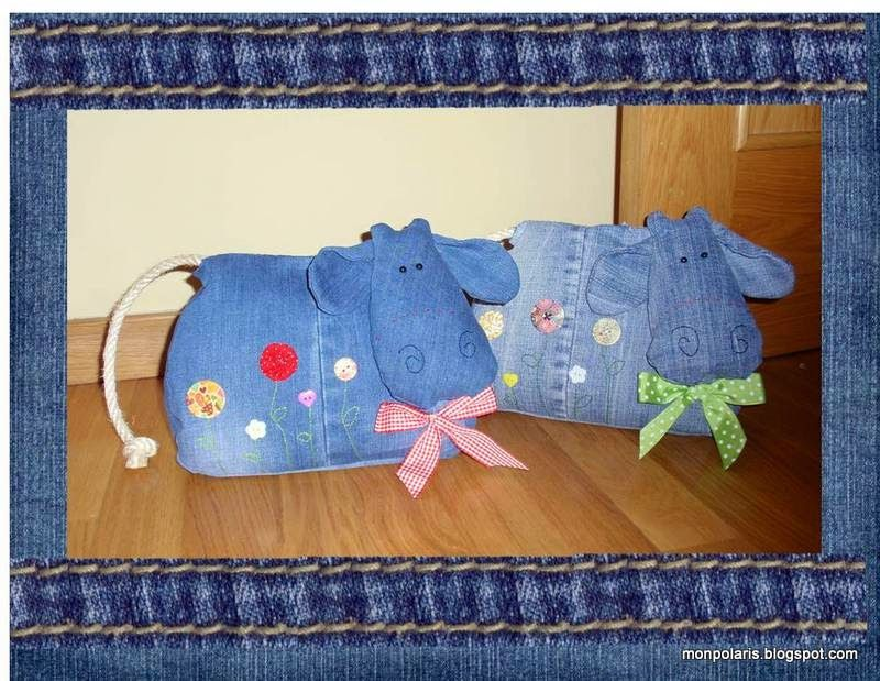 Reciclando tejanos: vaquitas sujetapuetas