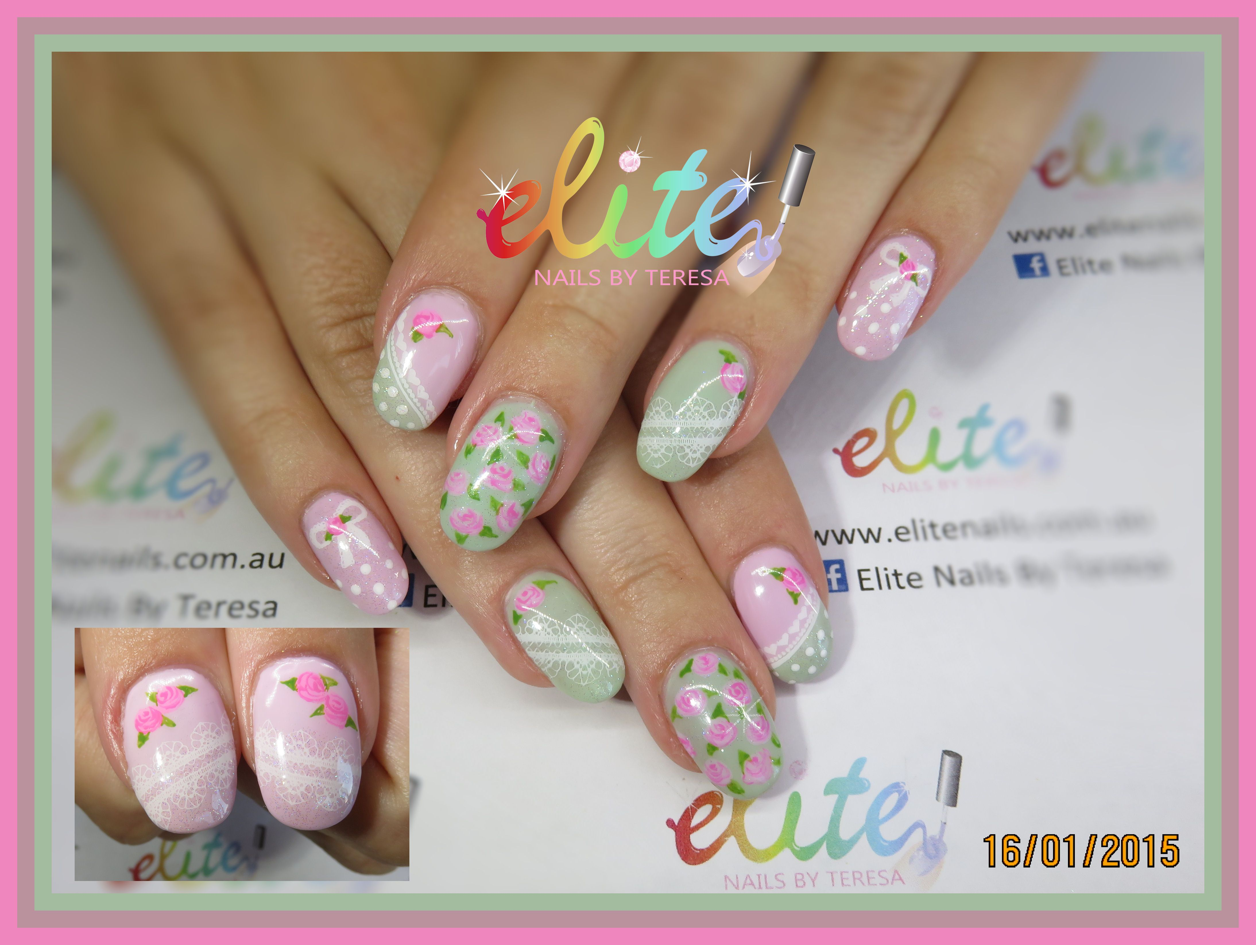 Vintage pink green roses lace hand painted nail art Elite Nails CND ...