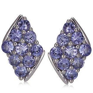1.8ct Lavender Tanzanite Diamond Shaped Stud Earrings Sterling Silver