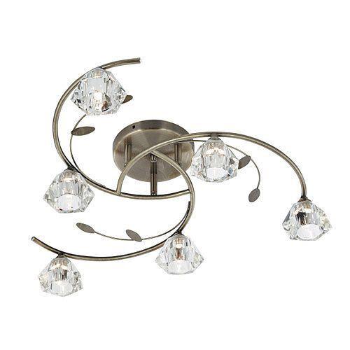 SIERRA - stropné svietidlo - antický bronz+sklo - ø 480mm