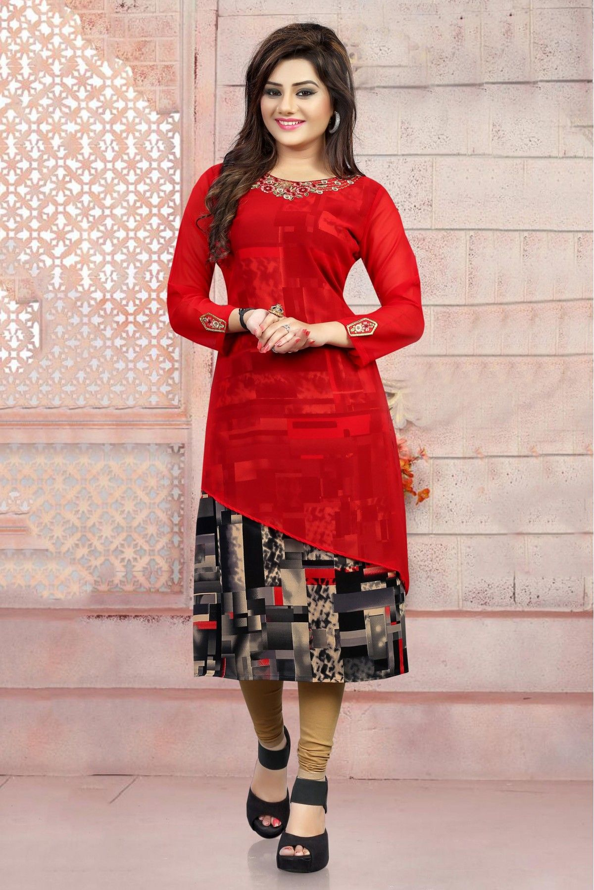 22167d8c893 Georgette Party Wear Kurti In Red Colour in 2019