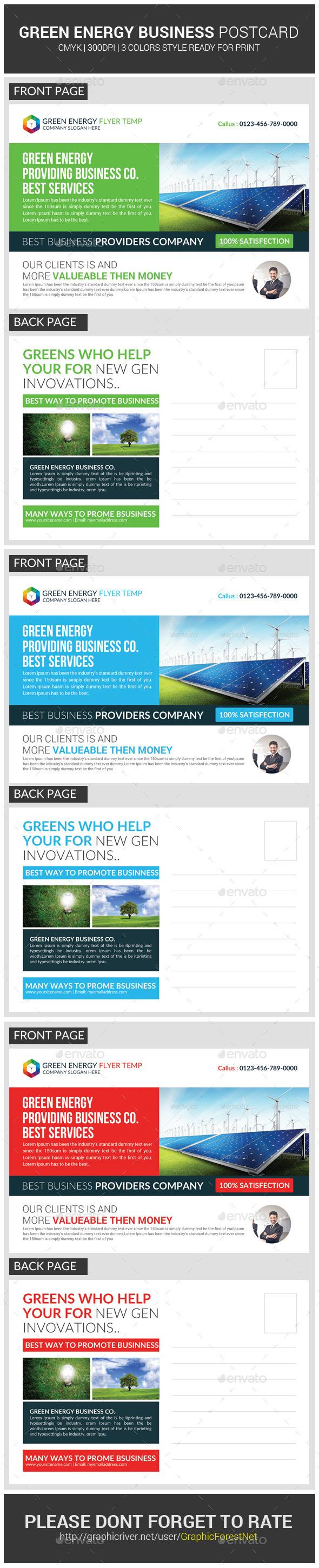 Green Energy Business Postcard Template Business Postcards - Postcard template photoshop