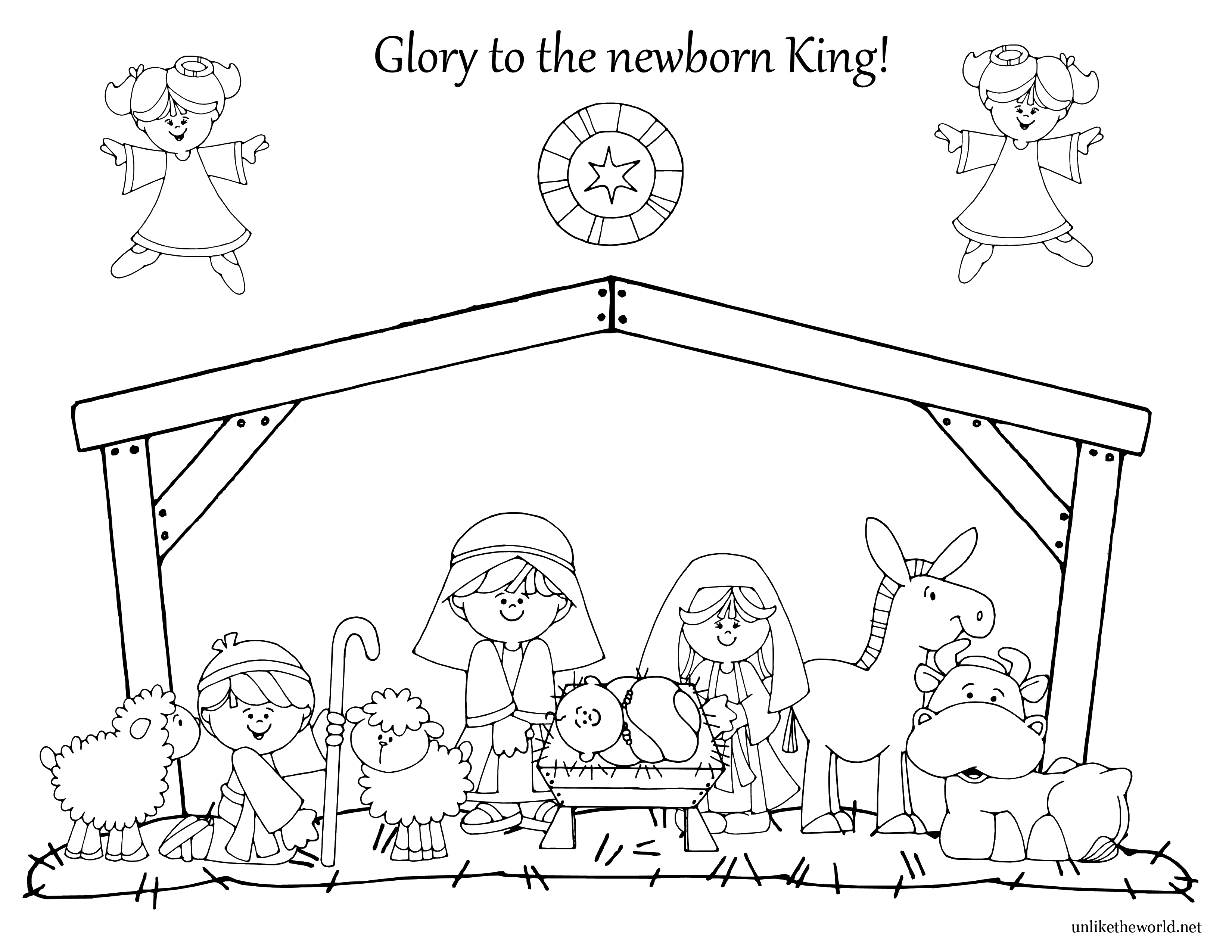 NativityColoringutw.png 3,300×2,550 pixels Nativity