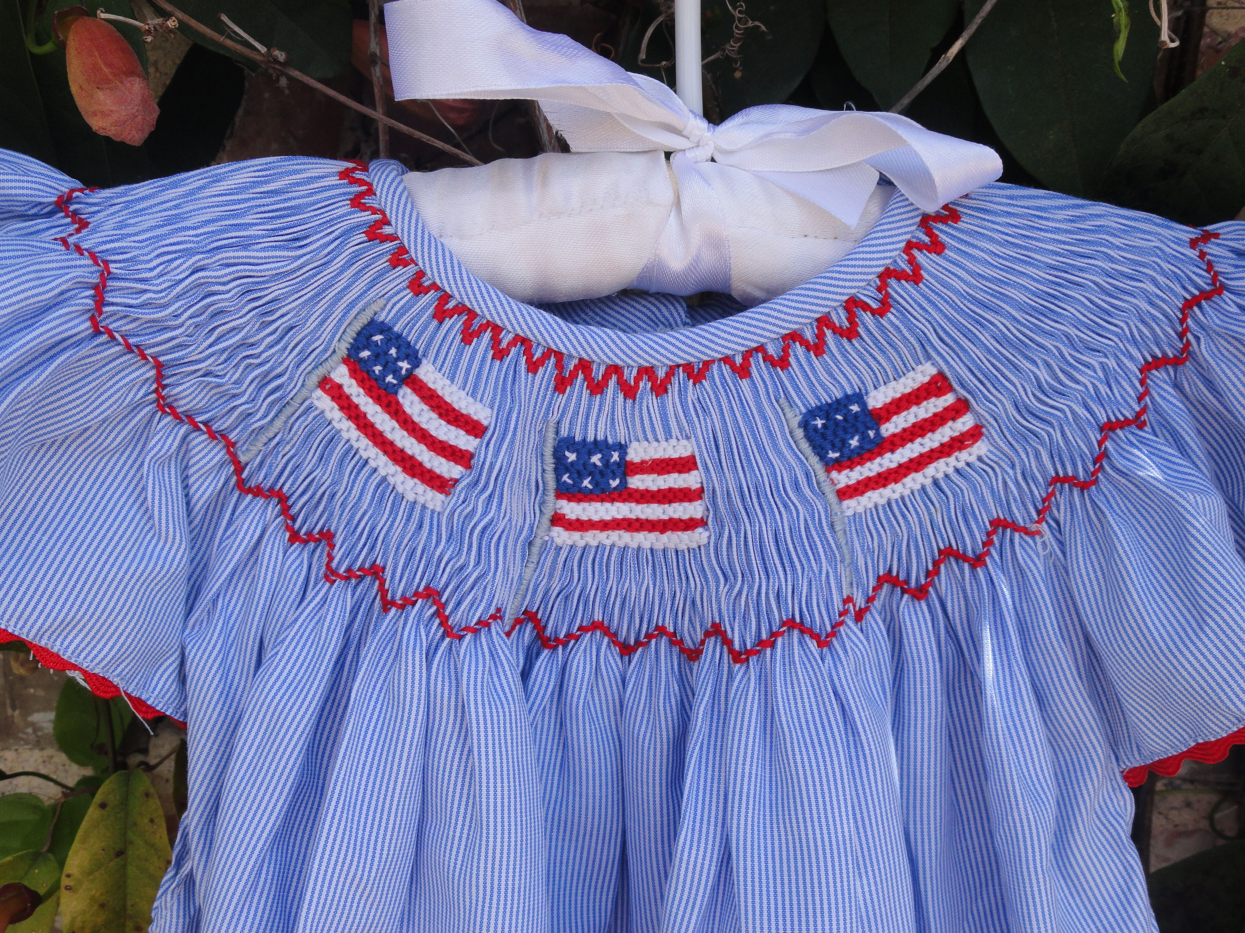 Smocked Flag Dress Patriotic Smocking Smock Dress