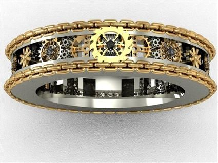 steampunk this is the perfect worry ring to touch with when tense description - Steampunk Wedding Rings