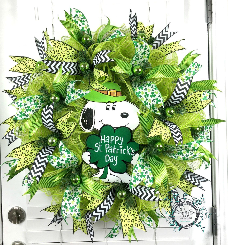 deco mesh st patricks day wreath st patricks day snoopy wreath happy st patricks day. Black Bedroom Furniture Sets. Home Design Ideas