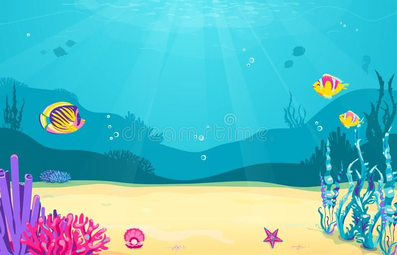 Underwater Cartoon Background With Fish Sand Seaweed Pearl Jellyfish Coral Starfish Ocean Sea Life Underwater Cartoon Cartoon Background Fish Background