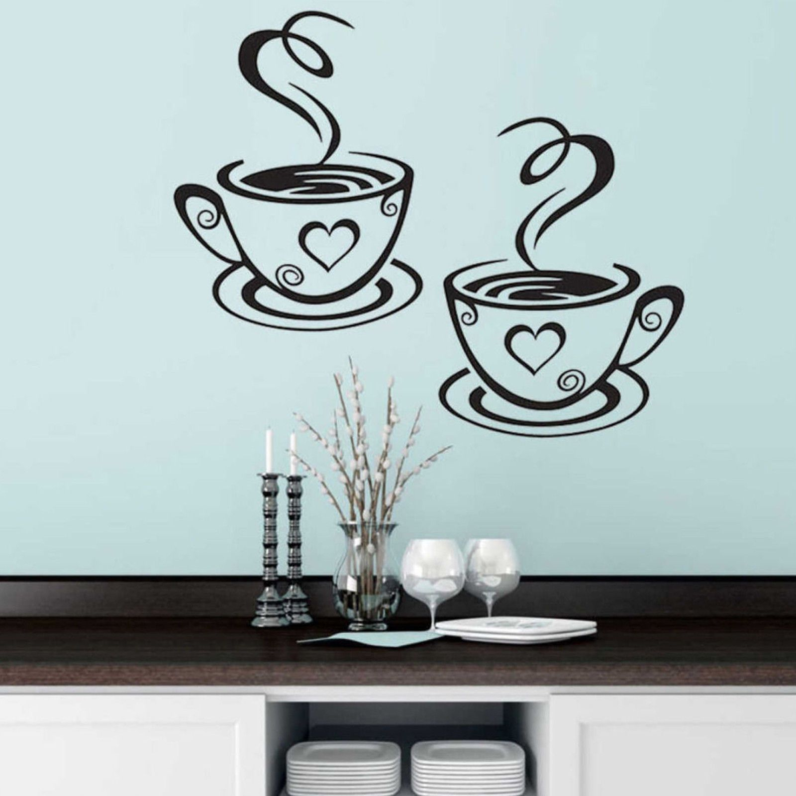 Coffee cups cafe tea wall stickers art vinyl decal kitchen
