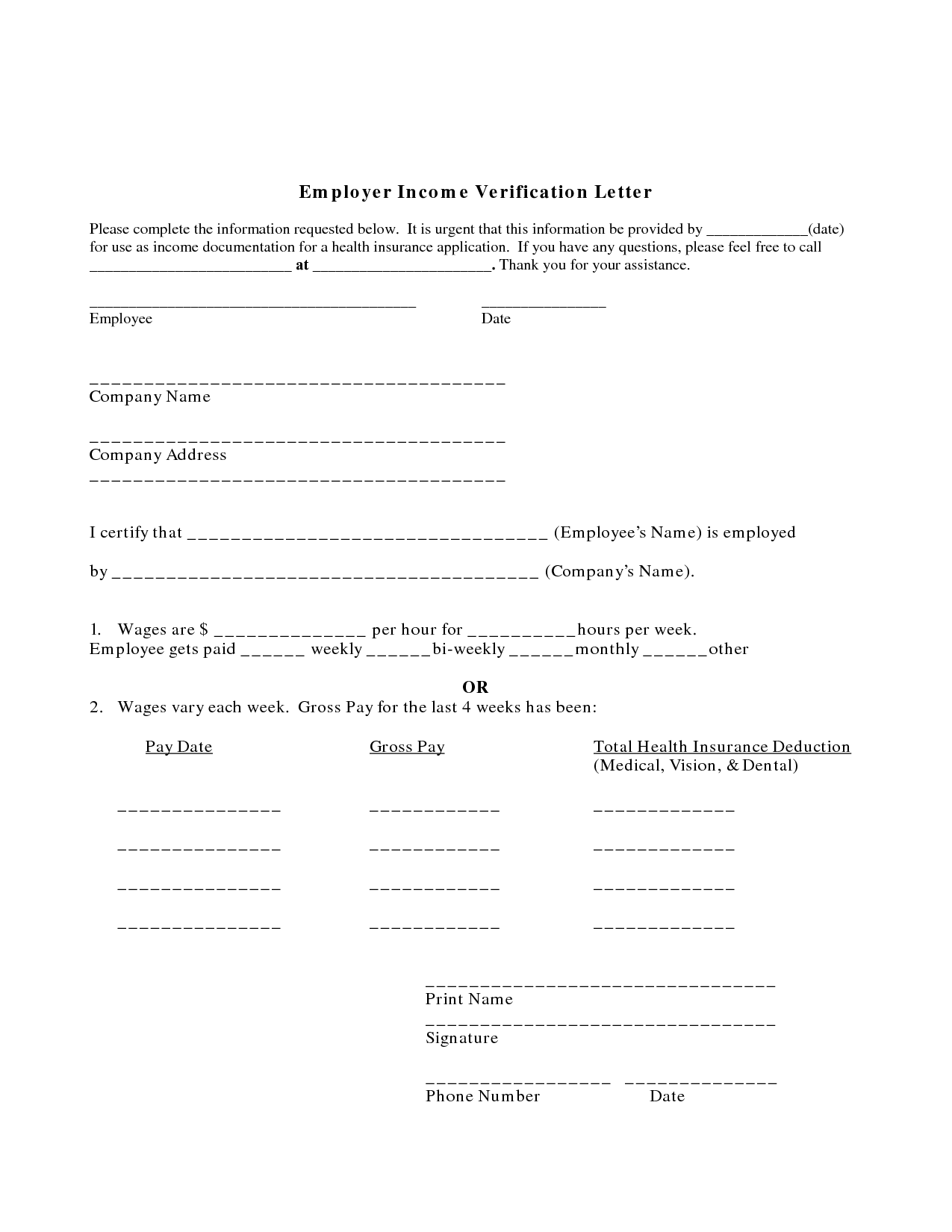 Printable Employment Verification Form Certificate Winner