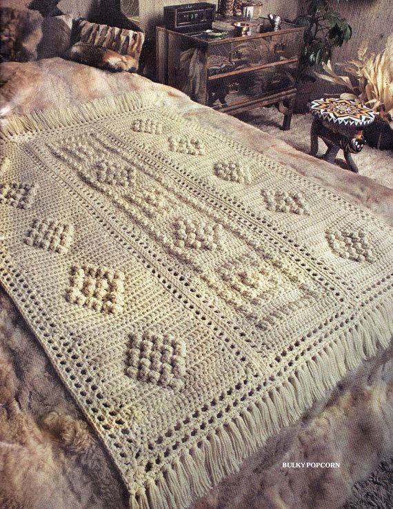 Afghan Crochet Pattern, Bulky Popcorn Crochet Afghan Pattern, Bridal ...