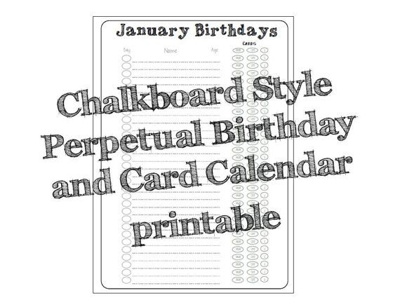 Birthday Card Calendar Perpetual Birthday List by OldfieldDesigns - perpetual calendar template