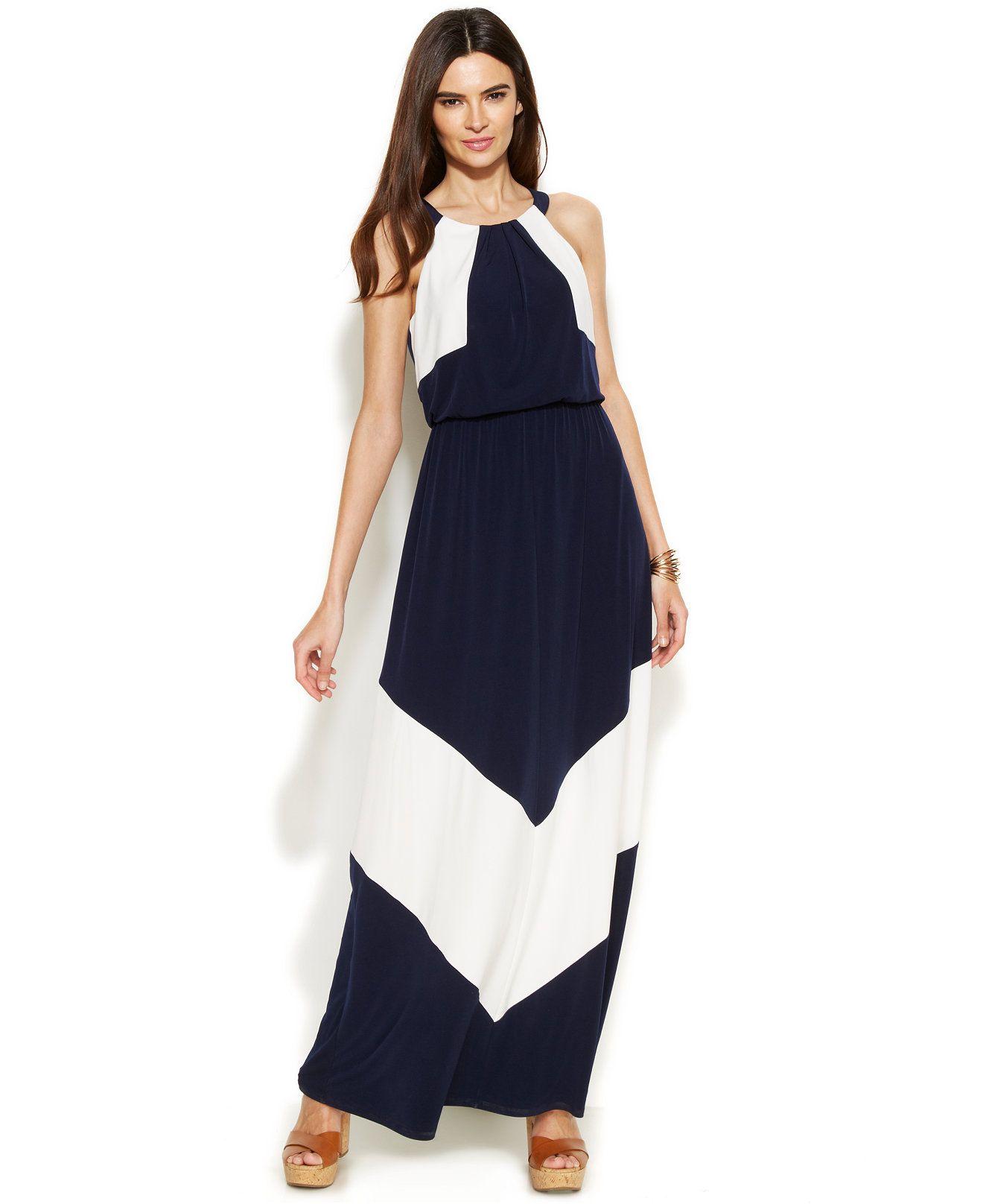 Vince Camuto Colorblock Halter Maxi Dress Dresses Women Macy S Womens Dresses Dresses Halter Maxi Dresses [ 1616 x 1320 Pixel ]