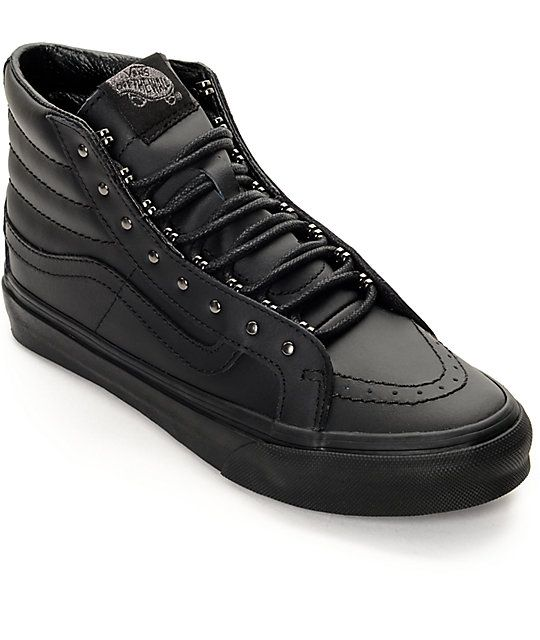 Vans Sk8 Hi Slim Rivets Black Leather Shoes (Womens) d61bb7d49