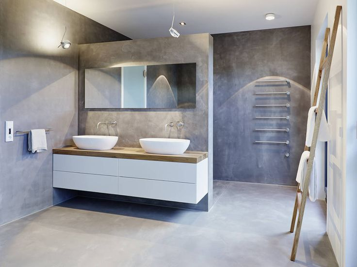 Waschtischunterschrank holz weiß  Moderne Badezimmer Bilder: Penthouse | Betonfarbe ...