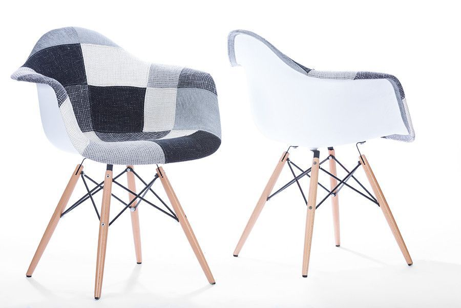 Baxton Studio Lia White & Black Patchwork Dining Chair - Set of 2