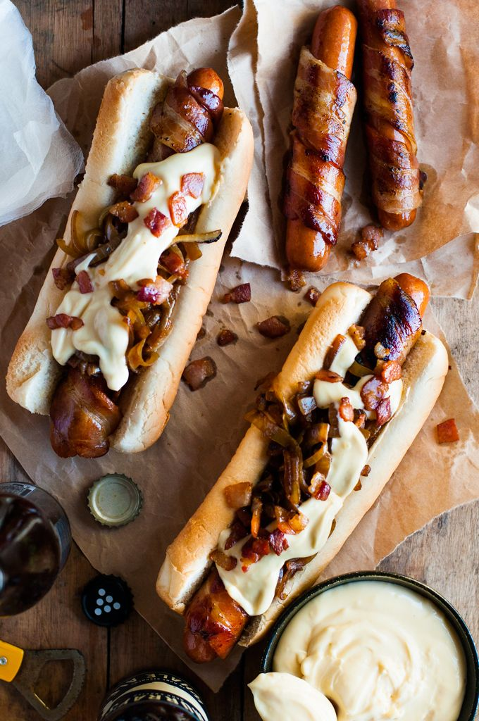 Photo of Bacon Wrapped Hot Dogs with Cheese Sauce