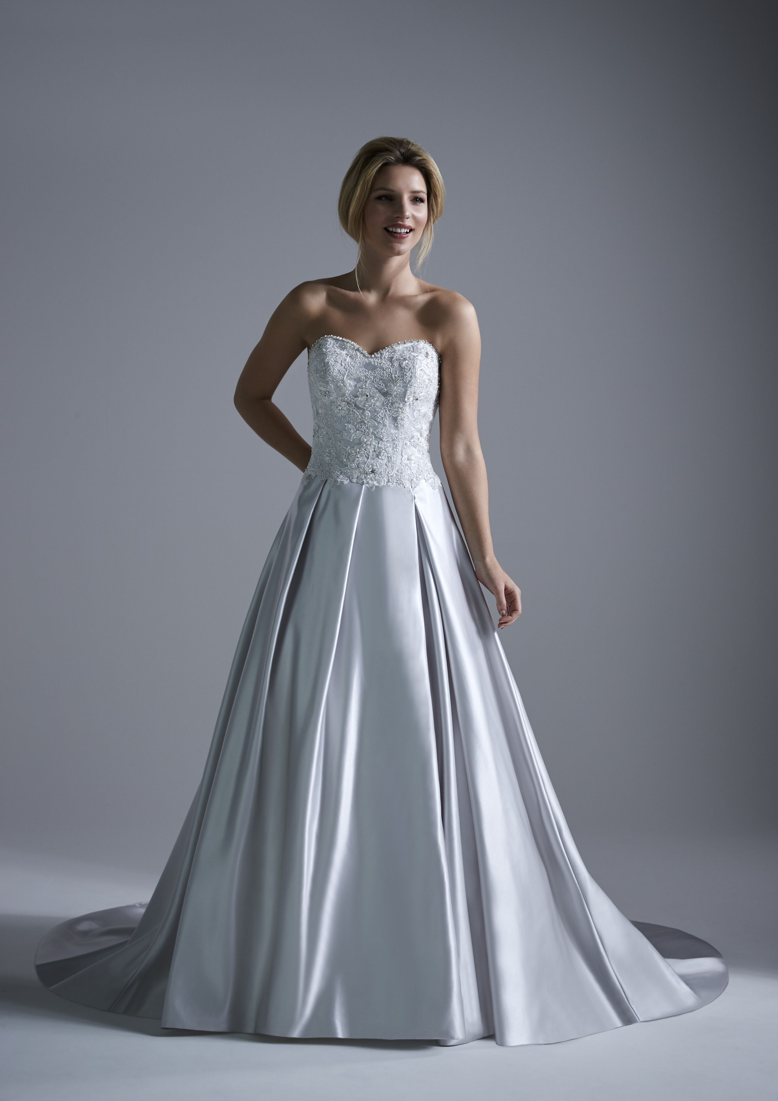 Montana ~ A traditional yet contemporary wedding dress with satin, a ...