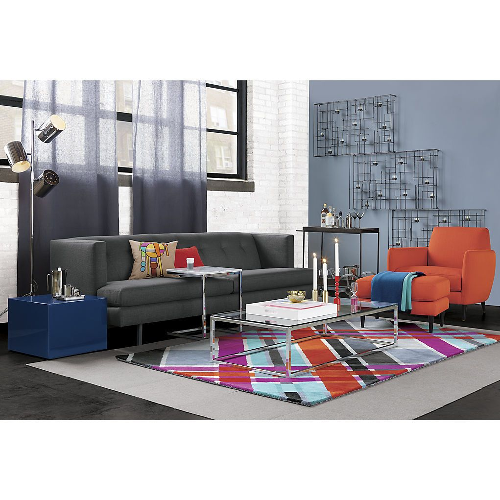 Cb Avec Carbon Sofa Smart Glass Top Coffee Table Modern Plaid Rug With  Couch Glas