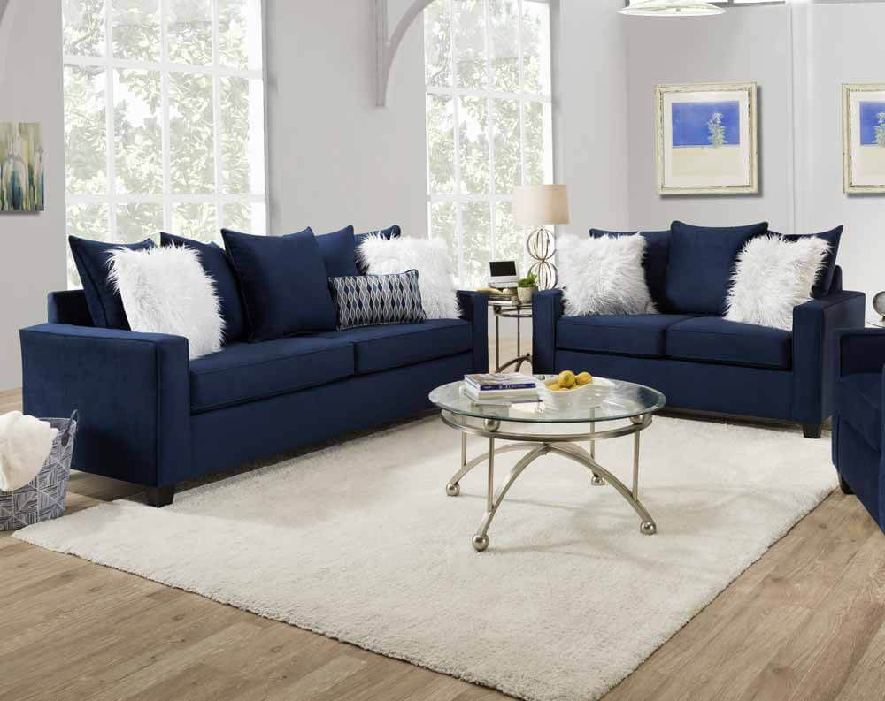 7200 Andrew Indigo Blue Sofa And Loveseat Blue Furniture Living Room Blue Sofas Living Room Blue Living Room Decor