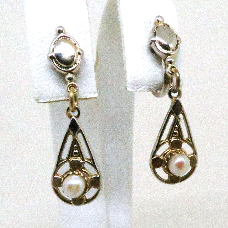 Pearl Earrings  Vintage, Gold Filled, Genuine Pearl, Screw Back Dangle  Earrings