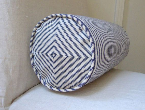 navy and off white ticking stripe 6x15 inch neck roll pillow cover with mitered ends