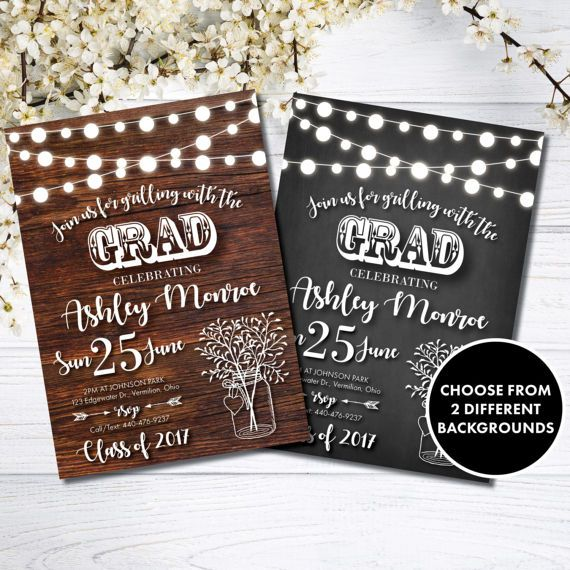 grilling with grad party invitation string lights chalkboard