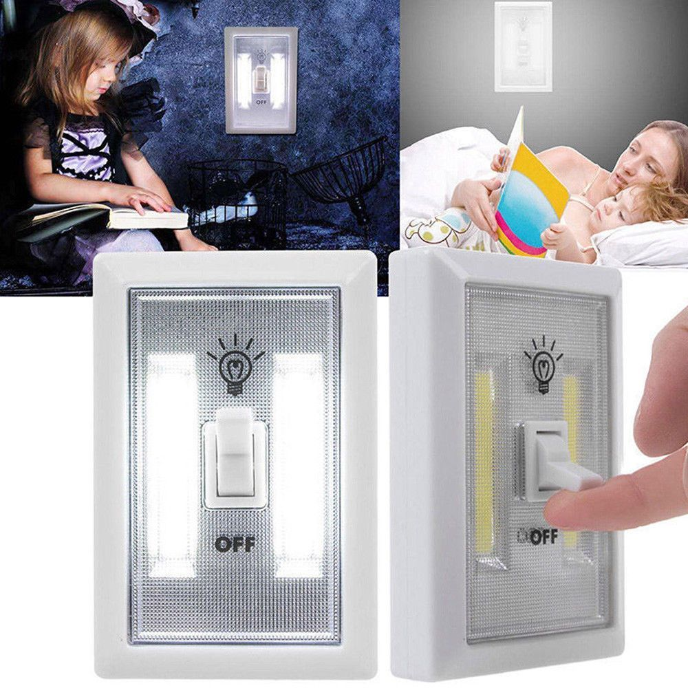 Cob led wall switch wireless white closet under cabinet night light