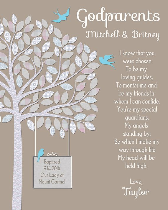 Godparents Gift Gift For Godparents Personalized Godparents Gift