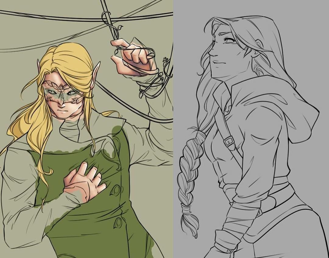 Alternating Between Coloring Tamlin And Doing The Line Art For