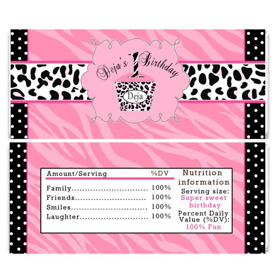 Personalized Pink Zebra Birthday Candy Bar Wrappers Leopard 1st