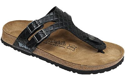 dc594803a Milos Quilt Black Birko-Flor This thong sandal has unique double cross-strap  styling and two buckles for a customized fit. The toe piece keeps your foot  in ...