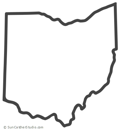 Ohio Map Outline Printable State Shape Stencil Pattern Ohio Map Ohio State Tattoos Ohio State Decor