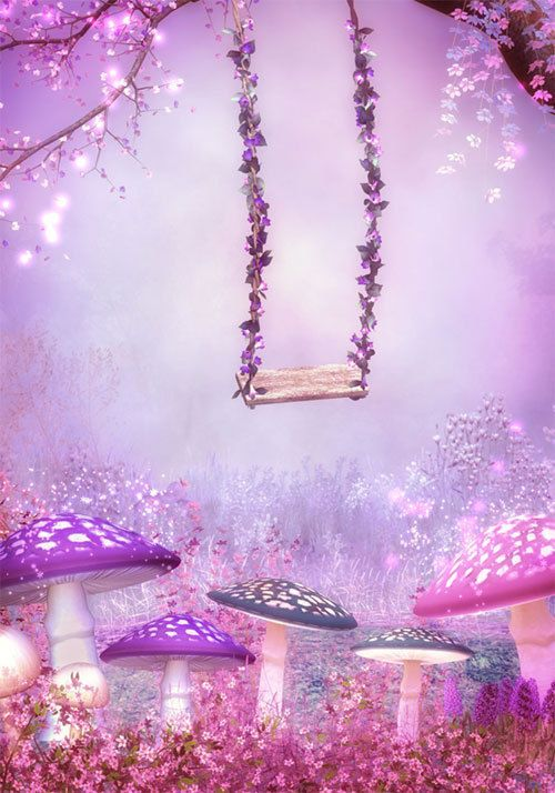Purple Pink Fantasy Garden Swing Full Wall Mural Photo Wallpaper
