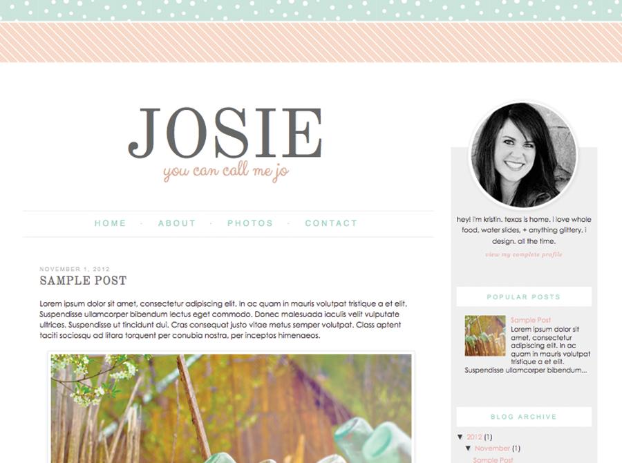 $15 Josie | by Kristin - Blog Design | Blogger Templates - Designer ...
