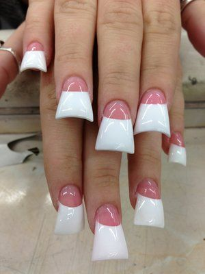 Duck Feet Wide Nails Flared Nails Pink And White French Nail