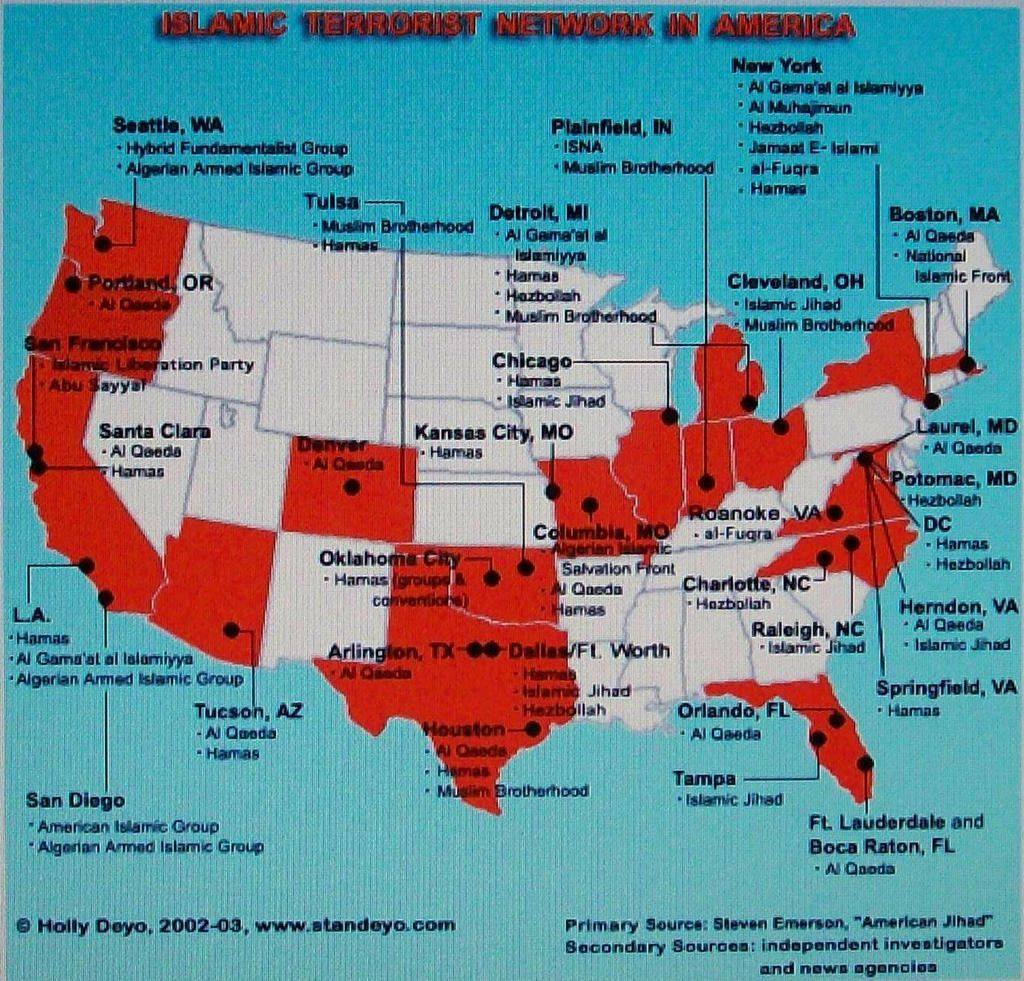 MAP Islamic Terrorist Network In America Maps Pinterest - Isis Training Camps In Us Map