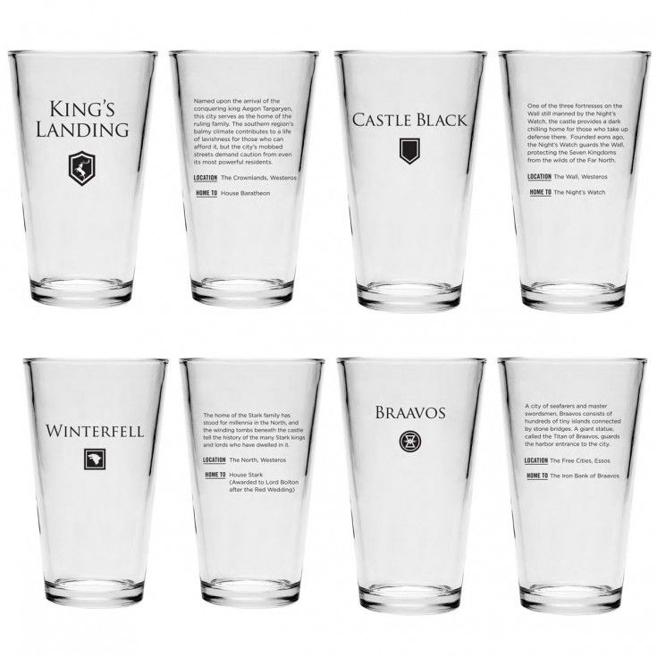Game of thrones pint glass bundle set of 4 glass pint