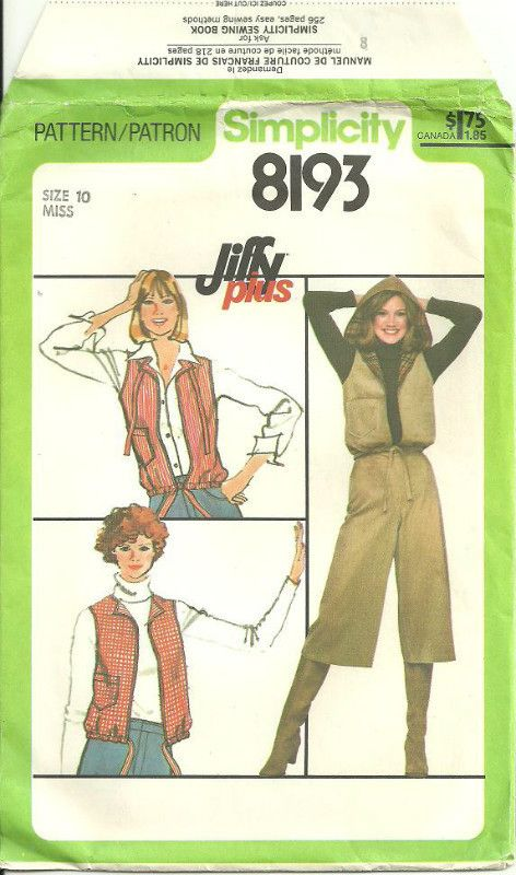 Simplicity 8193 Sewing Pattern Misses\' Gauchos And Reversible Vest ...