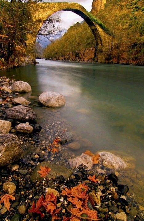 Breath taking ancient bridge in Epirus, Greece