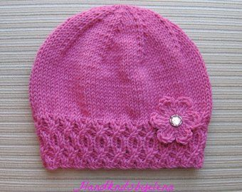 Photo of Instant Download Knitting Pattern #161Rolled Brim Hat with a Flower in Three Sizes