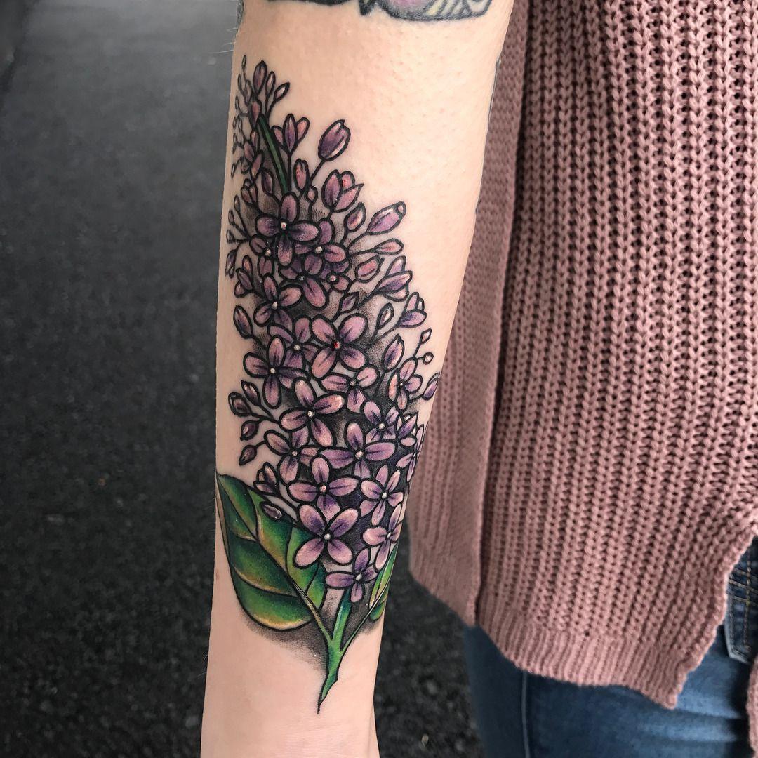 Lilac Arm Tattoo Artist Nicki Nieset Tattoos Steel Lilac Tattoo Tattoos Lower Arm Tattoos