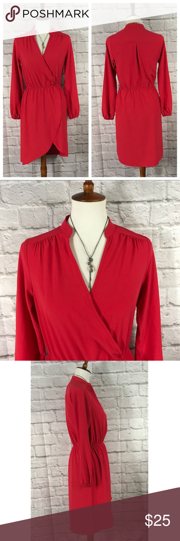 Justfab coral red long sleeve wrap dress true red red color