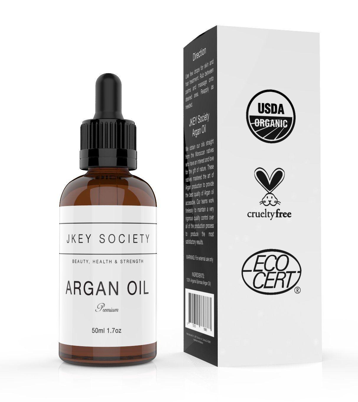 JKEY SOCIETY Organic Moroccan Argan Oil 100 USDA